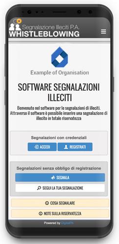 Mockup app Segnalazione Illeciti azienda
